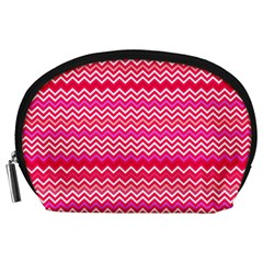Valentine Pink And Red Wavy Chevron Zigzag Pattern Accessory Pouches (large)