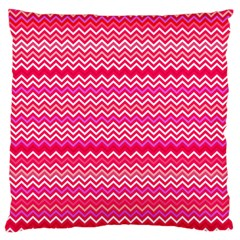 Valentine Pink And Red Wavy Chevron Zigzag Pattern Standard Flano Cushion Cases (two Sides)