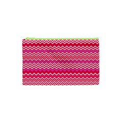 Valentine Pink And Red Wavy Chevron Zigzag Pattern Cosmetic Bag (xs)