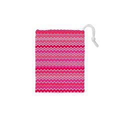 Valentine Pink and Red Wavy Chevron ZigZag Pattern Drawstring Pouches (XS)