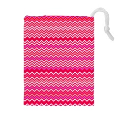 Valentine Pink and Red Wavy Chevron ZigZag Pattern Drawstring Pouches (Extra Large)