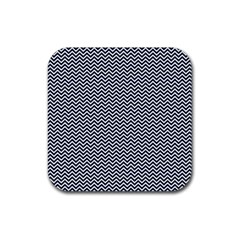 Blue And White Chevron Wavy Zigzag Stripes Rubber Square Coaster (4 Pack)
