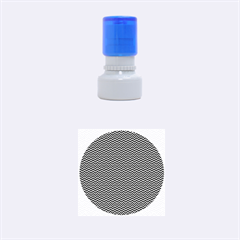 Blue and White Chevron Wavy Zigzag Stripes Rubber Round Stamps (Small)