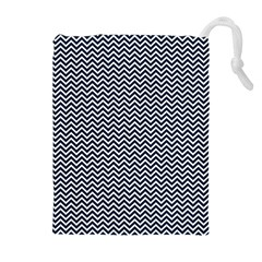 Blue and White Chevron Wavy Zigzag Stripes Drawstring Pouches (Extra Large)