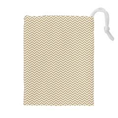Gold And White Chevron Wavy Zigzag Stripes Drawstring Pouches (extra Large)