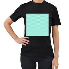 Tiffany Aqua and White Chevron Wavy ZigZag Stripes Women s T-Shirt (Black)