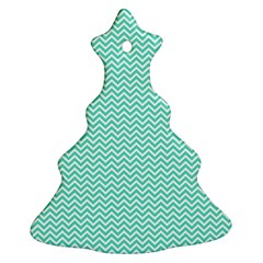 Tiffany Aqua and White Chevron Wavy ZigZag Stripes Ornament (Christmas Tree)
