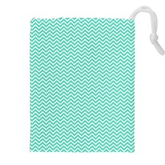 Tiffany Aqua and White Chevron Wavy ZigZag Stripes Drawstring Pouches (XXL)
