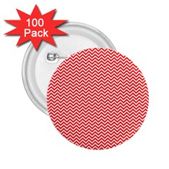 Red And White Chevron Wavy ZigZag Stripes 2.25  Buttons (100 pack)