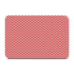 Red And White Chevron Wavy Zigzag Stripes Plate Mats