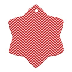 Red And White Chevron Wavy Zigzag Stripes Ornament (snowflake)