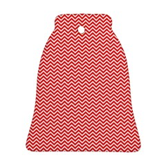 Red And White Chevron Wavy Zigzag Stripes Ornament (bell)