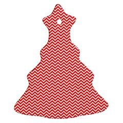 Red And White Chevron Wavy Zigzag Stripes Christmas Tree Ornament (2 Sides)