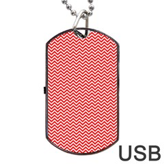 Red And White Chevron Wavy ZigZag Stripes Dog Tag USB Flash (One Side)