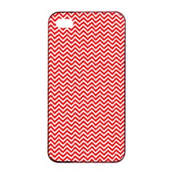 Red And White Chevron Wavy Zigzag Stripes Apple Iphone 4/4s Seamless Case (black)