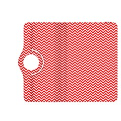 Red And White Chevron Wavy Zigzag Stripes Kindle Fire Hdx 8 9  Flip 360 Case