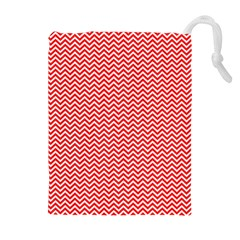 Red And White Chevron Wavy ZigZag Stripes Drawstring Pouches (Extra Large)