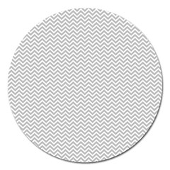 Silver And White Chevrons Wavy Zigzag Stripes Magnet 5  (round)