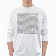Silver and White Chevrons Wavy ZigZag Stripes White Long Sleeve T-Shirts