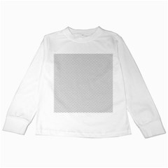 Silver and White Chevrons Wavy ZigZag Stripes Kids Long Sleeve T-Shirts