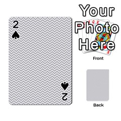 Silver and White Chevrons Wavy ZigZag Stripes Playing Cards 54 Designs