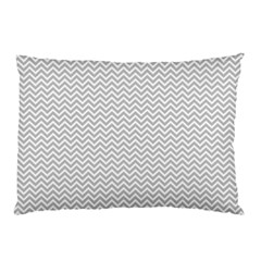 Silver And White Chevrons Wavy Zigzag Stripes Pillow Cases