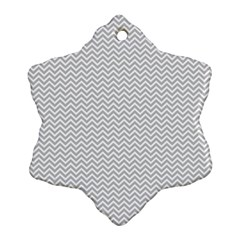 Silver And White Chevrons Wavy Zigzag Stripes Snowflake Ornament (2 Side)