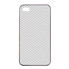 Silver And White Chevrons Wavy Zigzag Stripes Apple Iphone 4/4s Seamless Case (black)