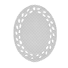 Silver And White Chevrons Wavy Zigzag Stripes Oval Filigree Ornament (2 Side)