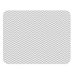 Silver And White Chevrons Wavy Zigzag Stripes Double Sided Flano Blanket (large)