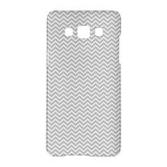Silver And White Chevrons Wavy Zigzag Stripes Samsung Galaxy A5 Hardshell Case