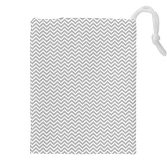 Silver and White Chevrons Wavy ZigZag Stripes Drawstring Pouches (XXL)