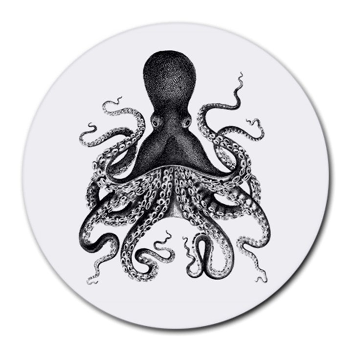 Vintage Octopus Round Mousepads