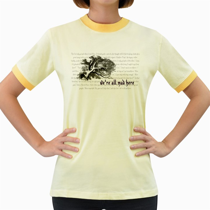 Cheshire Cat Women s Fitted Ringer T-Shirts