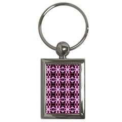 Purple White Flower Abstract Pattern Key Chains (rectangle)
