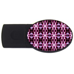 Purple White Flower Abstract Pattern Usb Flash Drive Oval (4 Gb)