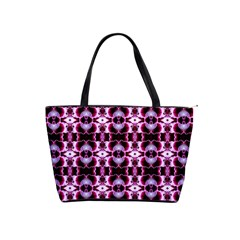 Purple White Flower Abstract Pattern Shoulder Handbags