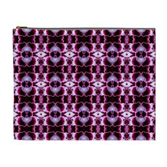 Purple White Flower Abstract Pattern Cosmetic Bag (xl)