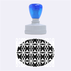 Purple White Flower Abstract Pattern Rubber Oval Stamps