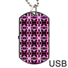 Purple White Flower Abstract Pattern Dog Tag Usb Flash (one Side)