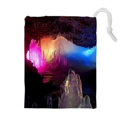 CAVE IN ICELAND Drawstring Pouches (Extra Large)