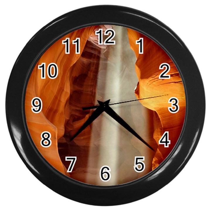 ANTELOPE CANYON 1 Wall Clocks (Black)