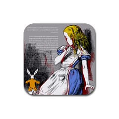 Alice In Wonderland Rubber Square Coaster (4 Pack)