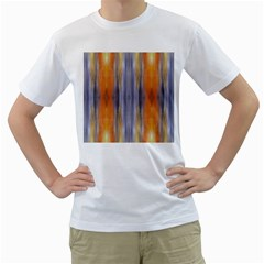 Gray Orange Stripes Painting Men s T-Shirt (White) (Two Sided)