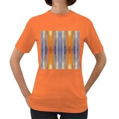 Gray Orange Stripes Painting Women s Dark T Shirt