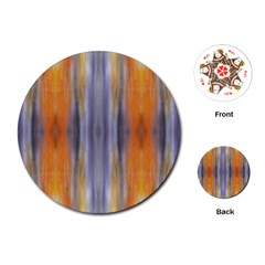 Gray Orange Stripes Painting Playing Cards (round)