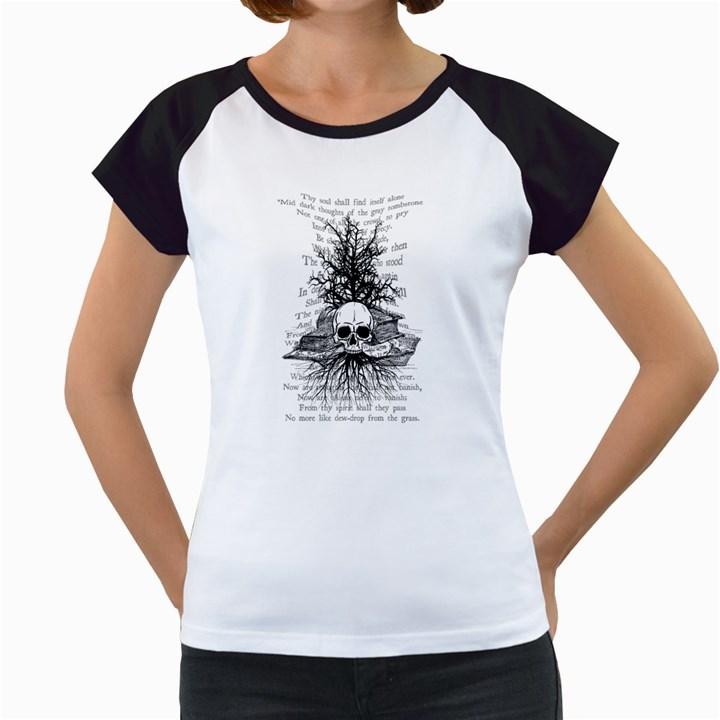 Skull & Books Women s Cap Sleeve T