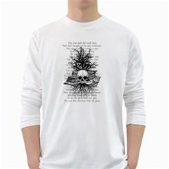 Skull & Books White Long Sleeve T Shirts