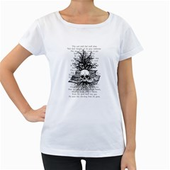 Skull & Books Women s Loose Fit T Shirt (white)