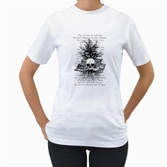 Skull & Books Women s T Shirt (white)